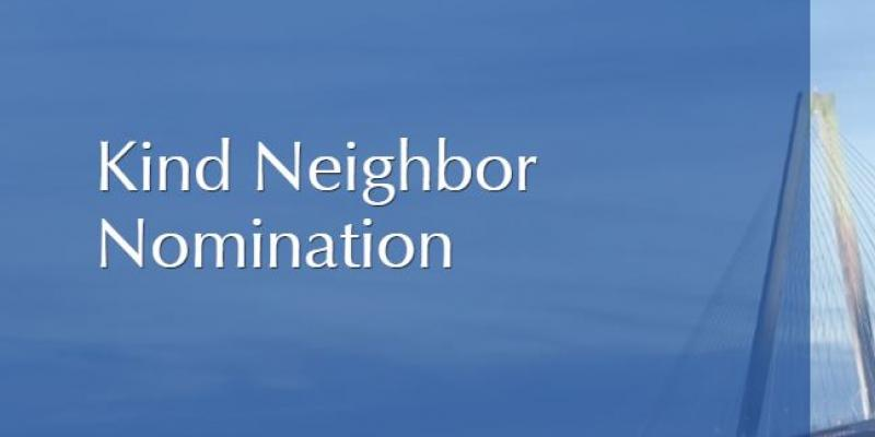 This is the logo for the Kind Neighbor Nomination in white letters with a blue background.