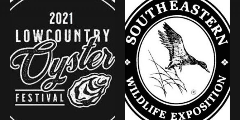 This is an image of two black and white logos beside each other for SEWE and Lowcountry Oyster Festival.