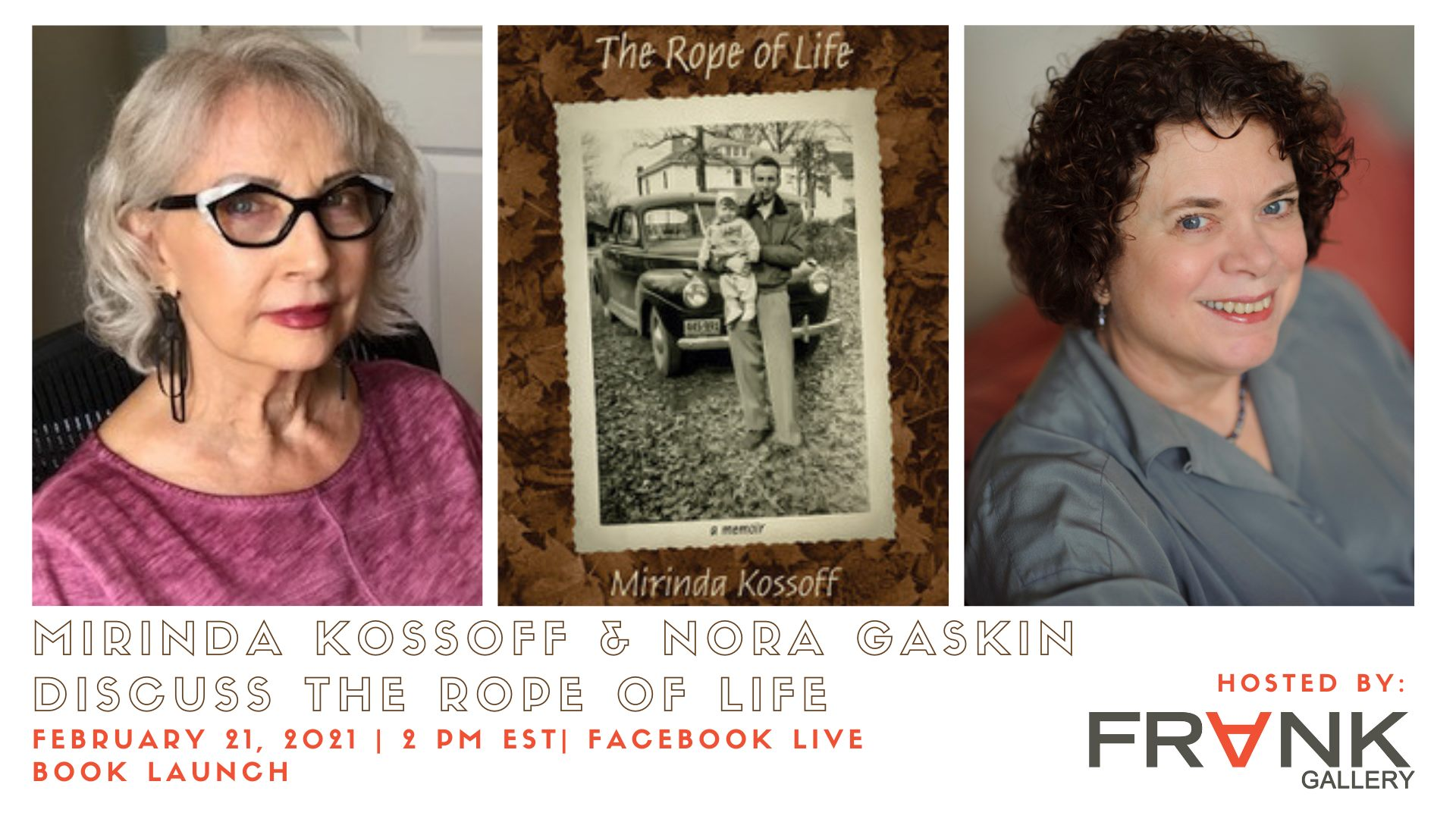 This is the ad for the Virtual Launch of Mirinda Kossoff's book The Rope of Life.