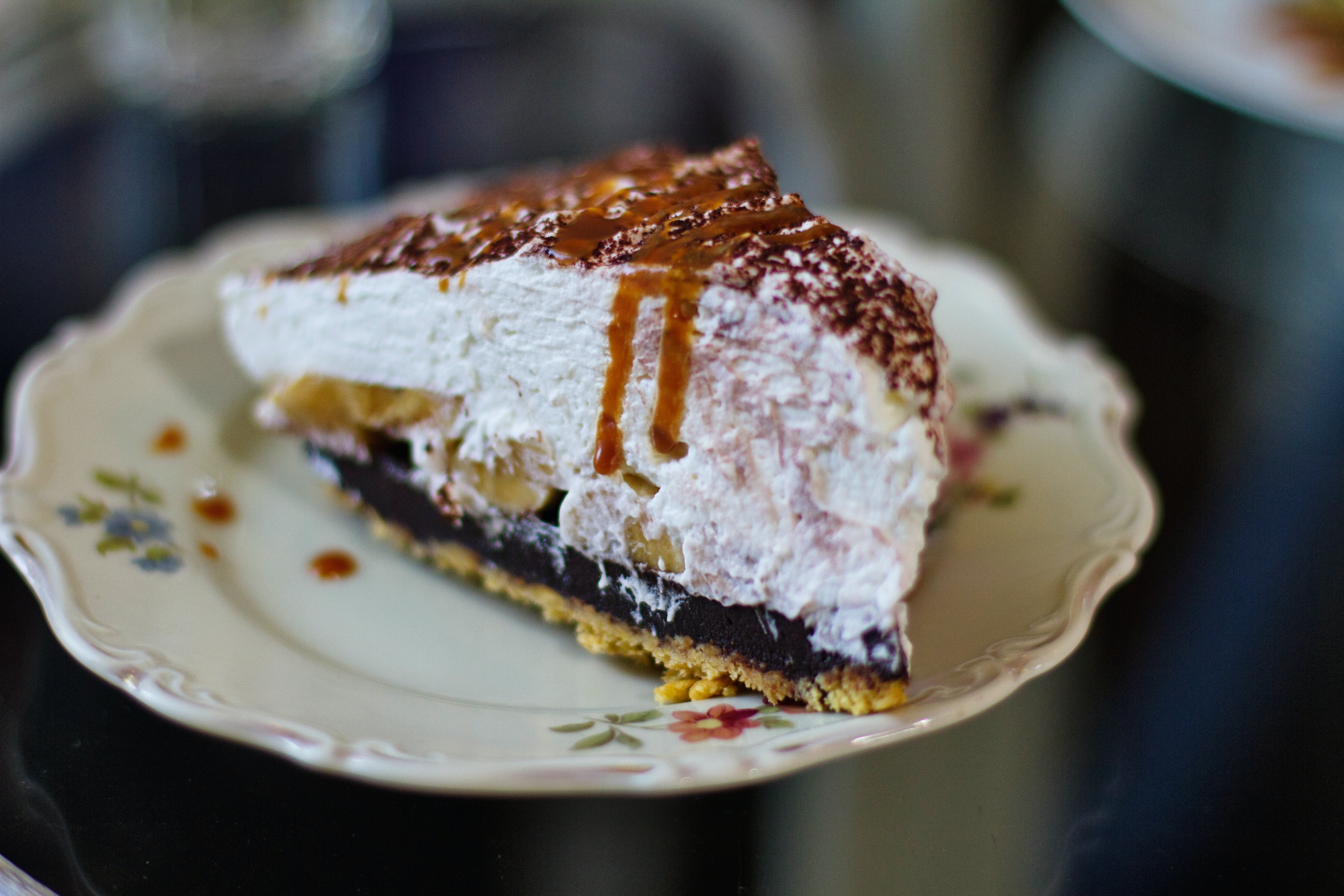 This is a picture of a slice of pumpkin spice ice cream pie.