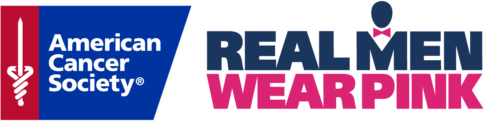 This is the logo for the American Cancer Society's Real Men Wear Pink campaign. It's blue and pink lettering on a white background.
