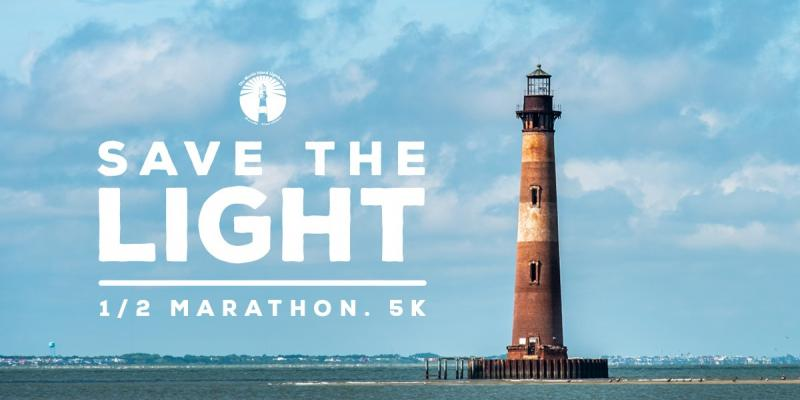 This is the poster advertising the Save the Light Half Marathon & 5K for Morris Island Lighthouse on Folly Beach, South Carolina.
