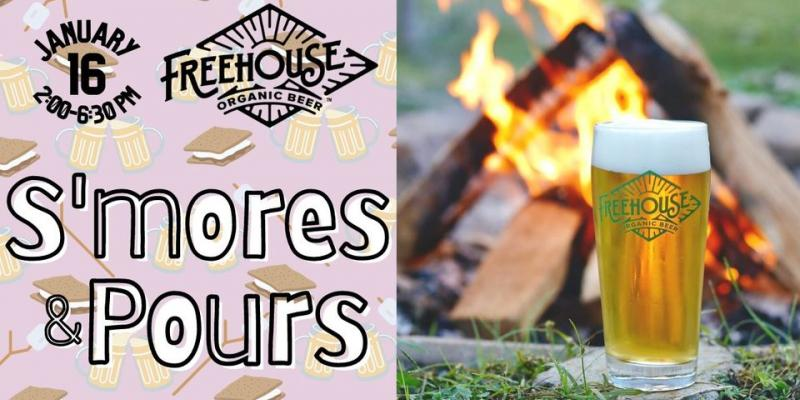 This is the promotional advertisement for a s'mores and pours event at Freehouse Brewery in North Charleston.